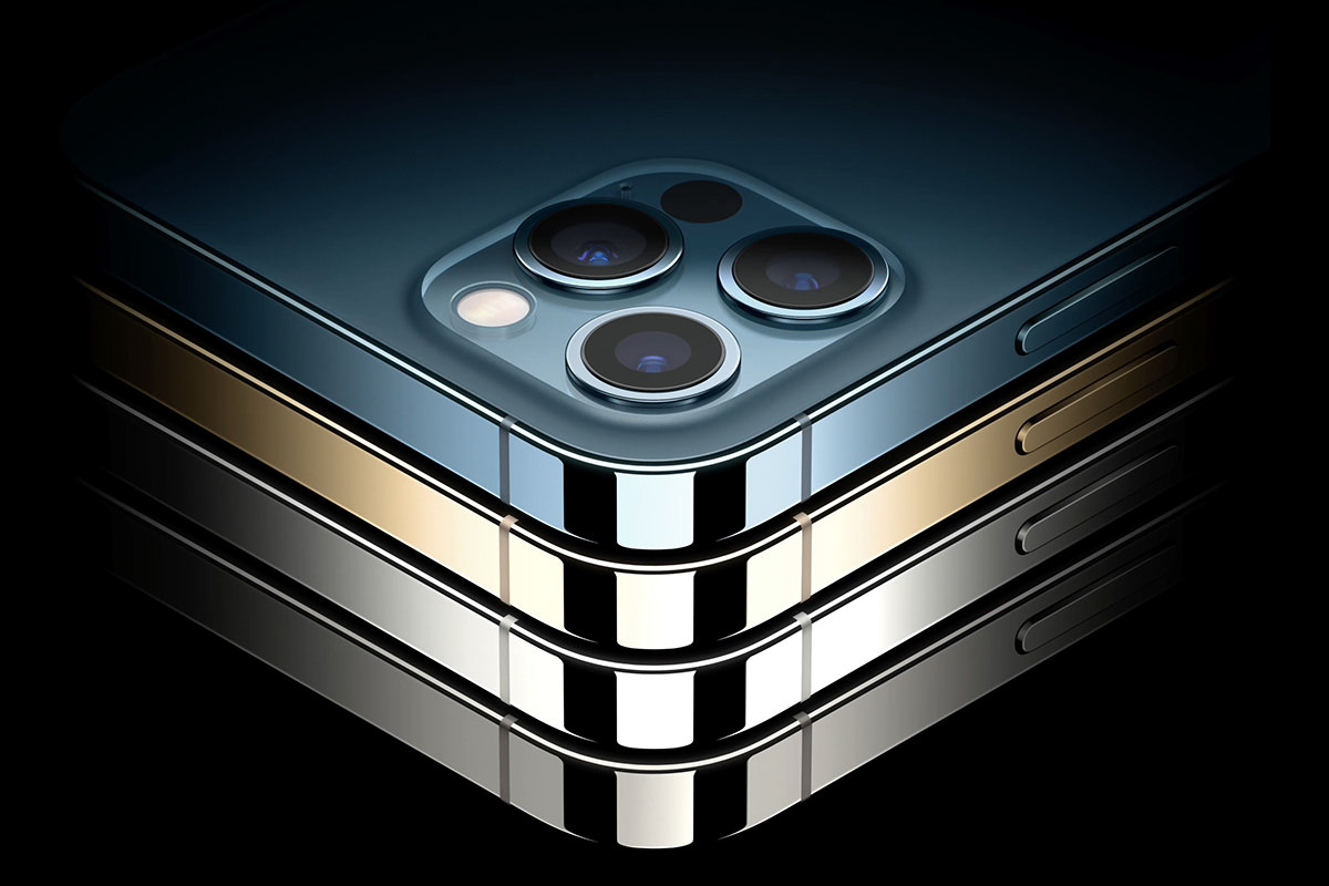 The beautiful iPhone 12 Pro with a stunning stainless-steel band around the edges.