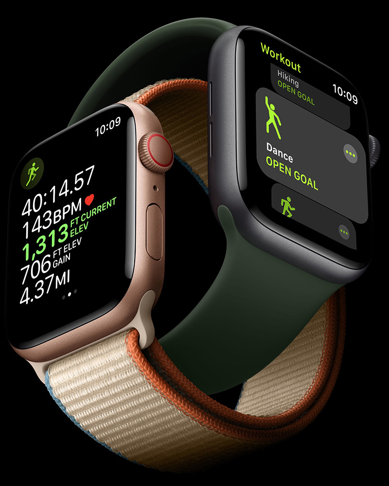 Apple Watches intertwined on each other.