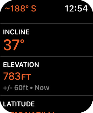 Extended compass info such as Lattitude, Longitude, Incline, and Elevation on my Apple Watch!