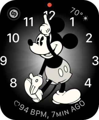 A Mickey Mouse watch face.