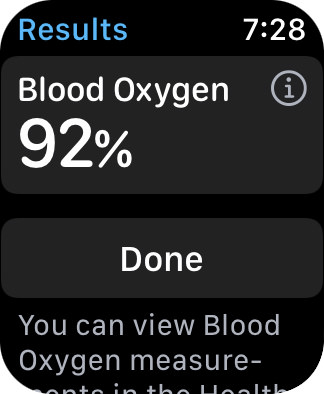 My Apple Watch screen showing a 92% blood oxygen level.