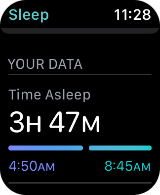 My Apple Watch screen showing 3 hours and 47 minutes of sleep last night.