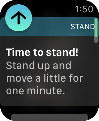 An alert telling me that I need to stand!
