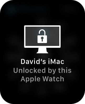 A notice that my Mac has been unlocked by my Apple Watch.