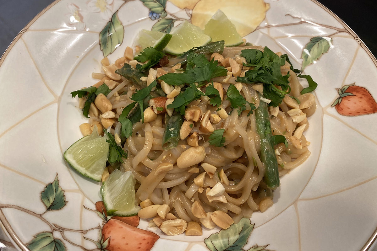 Totally Delicious Coconut-Peanut Rice Noodles with Blistered Green Beans.