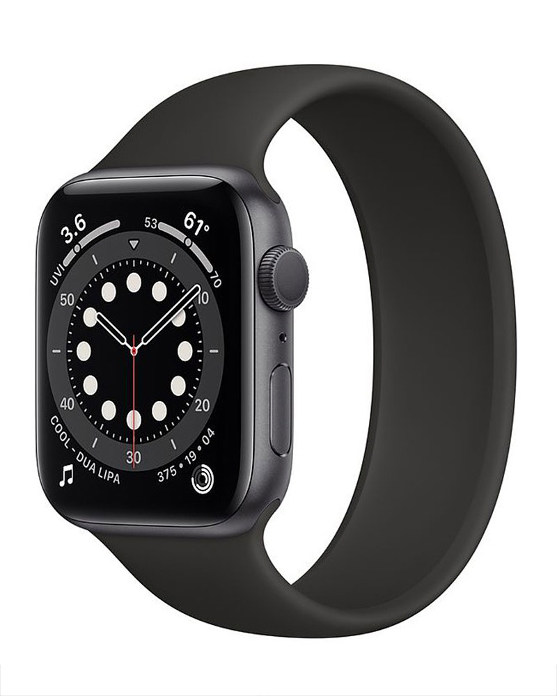 Dark grey watch with a black loop band.