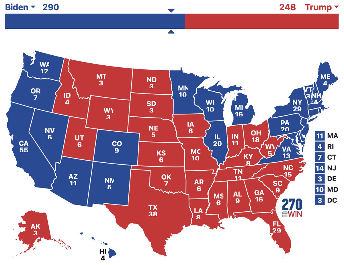 An election map showing a Biden win.