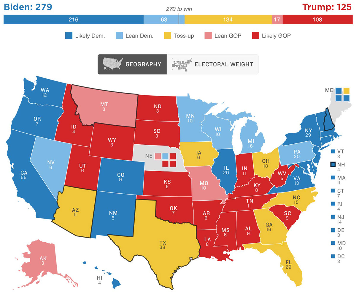 An election map showing nothing called.