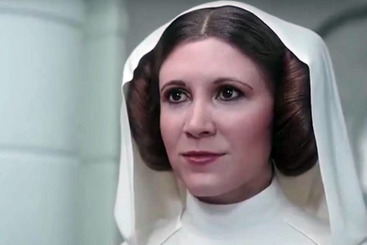 A plastic glassy-eyed fake Carrie Fisher as Princess Leia from Star Wars