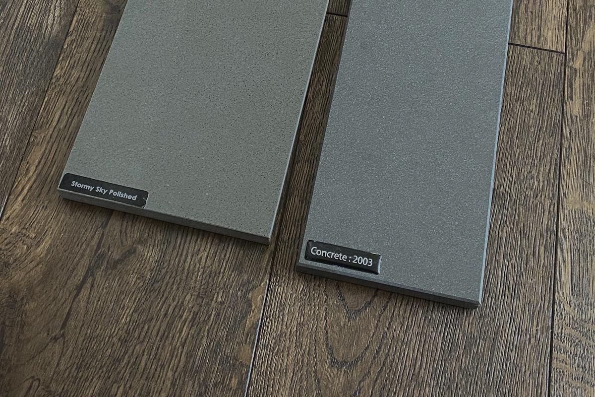 Countertop sample material sitting on my hardwood floor.
