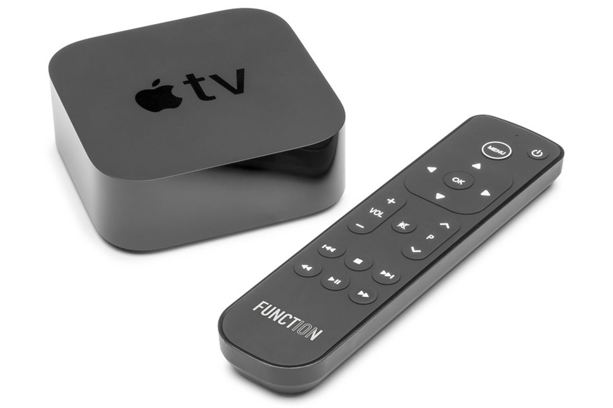 Function 101 remote next to an AppleTV.