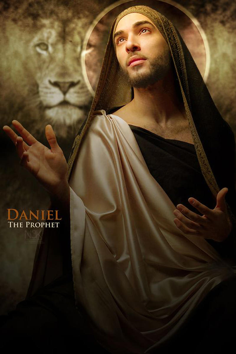 The Prophet Daniel with a halo behind his head as photographed by James Lewis..