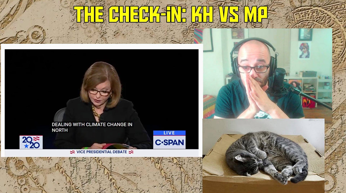A three-screen Twitch feed of the VP debate, Jay Smooth, and Jay Smooth's cat!