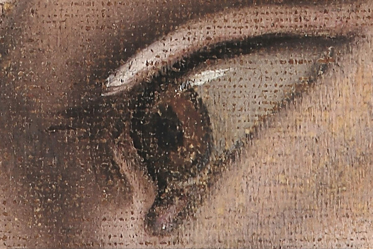 Philip the Apostle's eye close-up zoom-in on The Last Supper