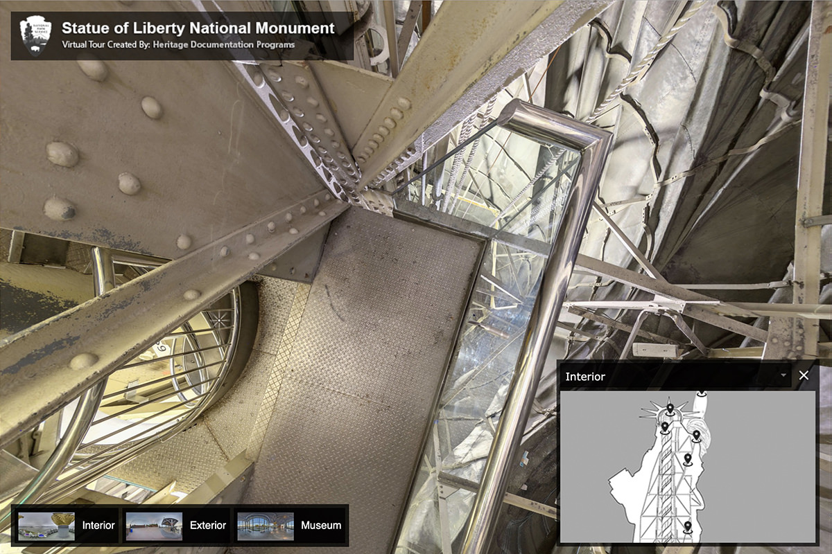 Looking down the scaffolding and stairway of the Statue of Liberty.