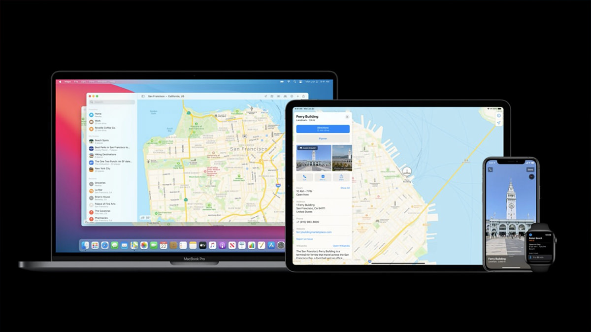 Apple Maps on a Mac, iPad, and iPhone showing parity features between them all.