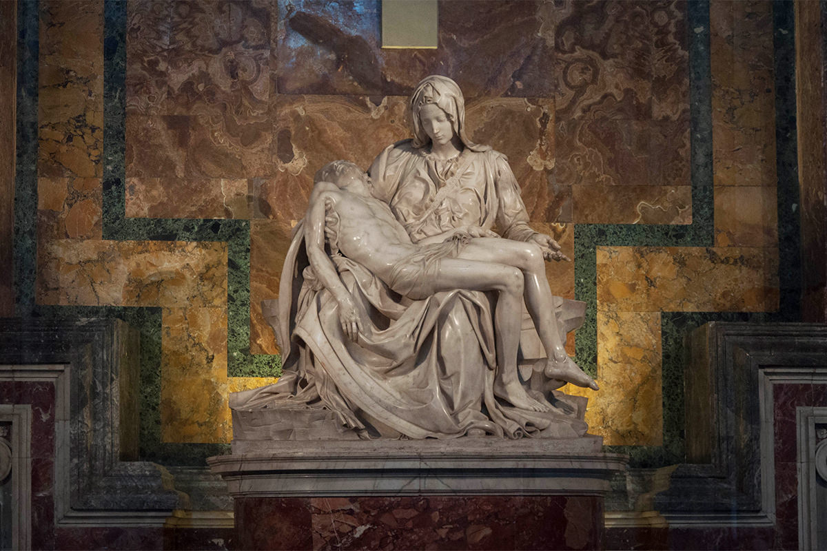 Michelangelo's Pieta showing Mary cradling Jesus after he was crucified.
