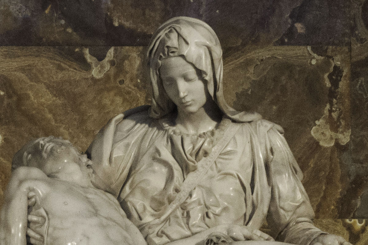 Michelangelo's Pieta, a close-up on Mary's face.