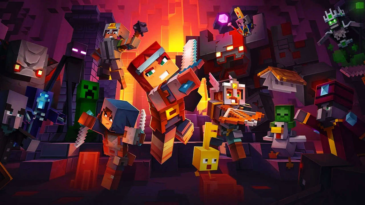 The Minecraft Dungeons splash screen showing an adventurer slashing their way through a bunch of enemies.