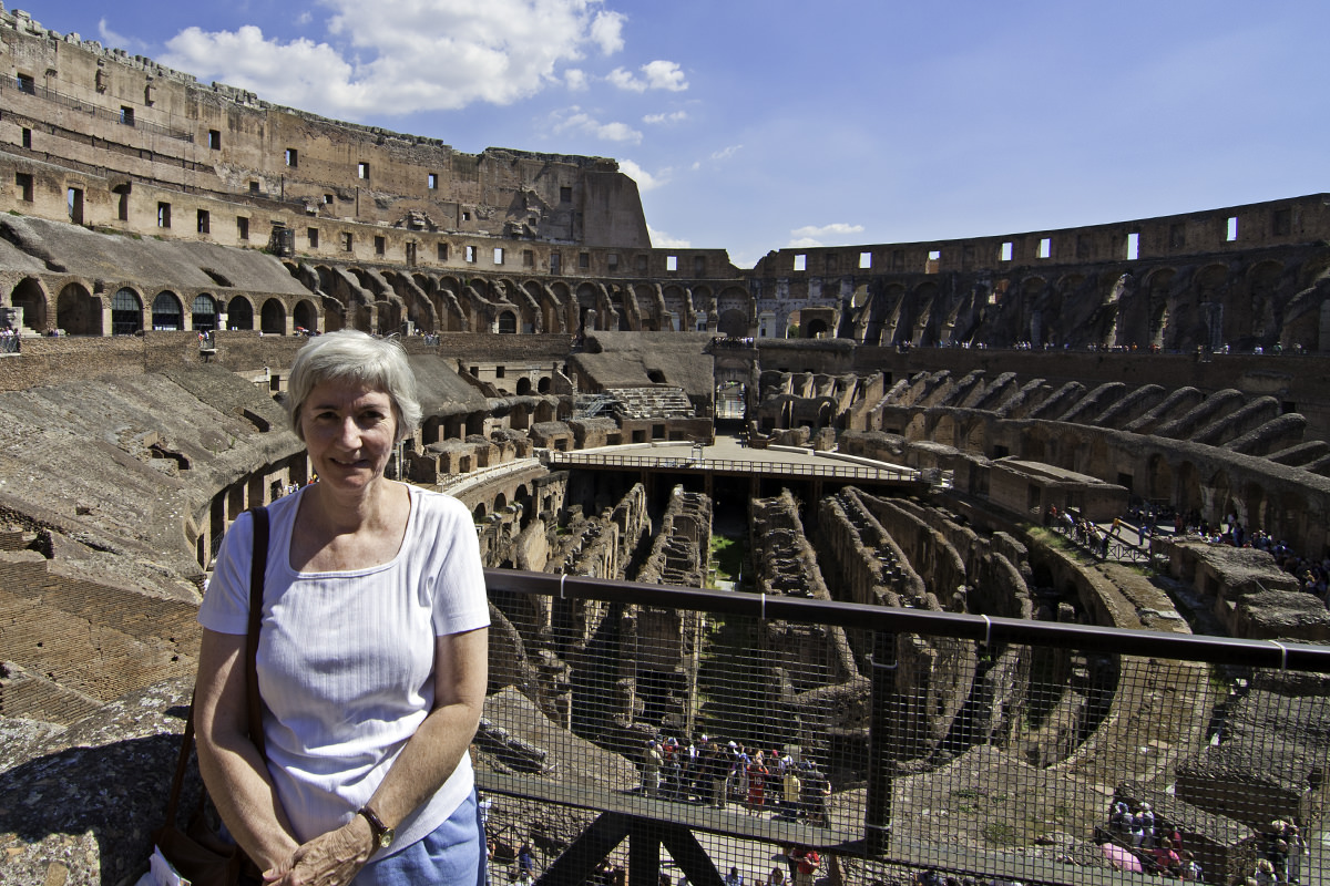 Mom at The Colosseum in Rome.