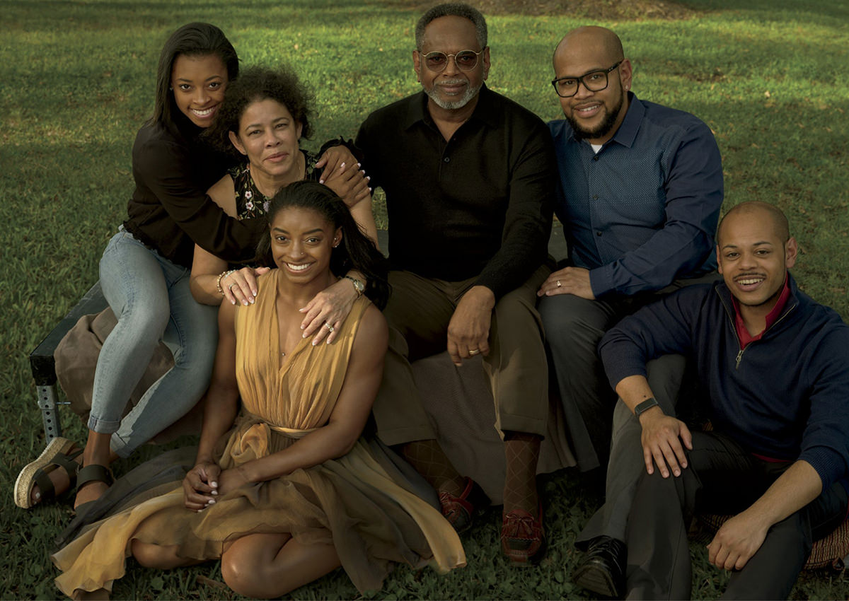Simone Biles and her family looking murky and green in a shot for Vogue Magazine.
