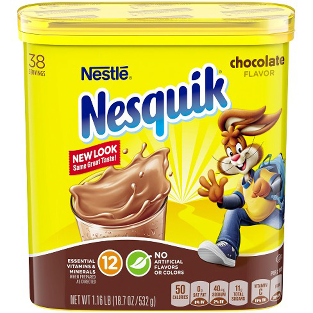 A modern plastic box of Nesquik.