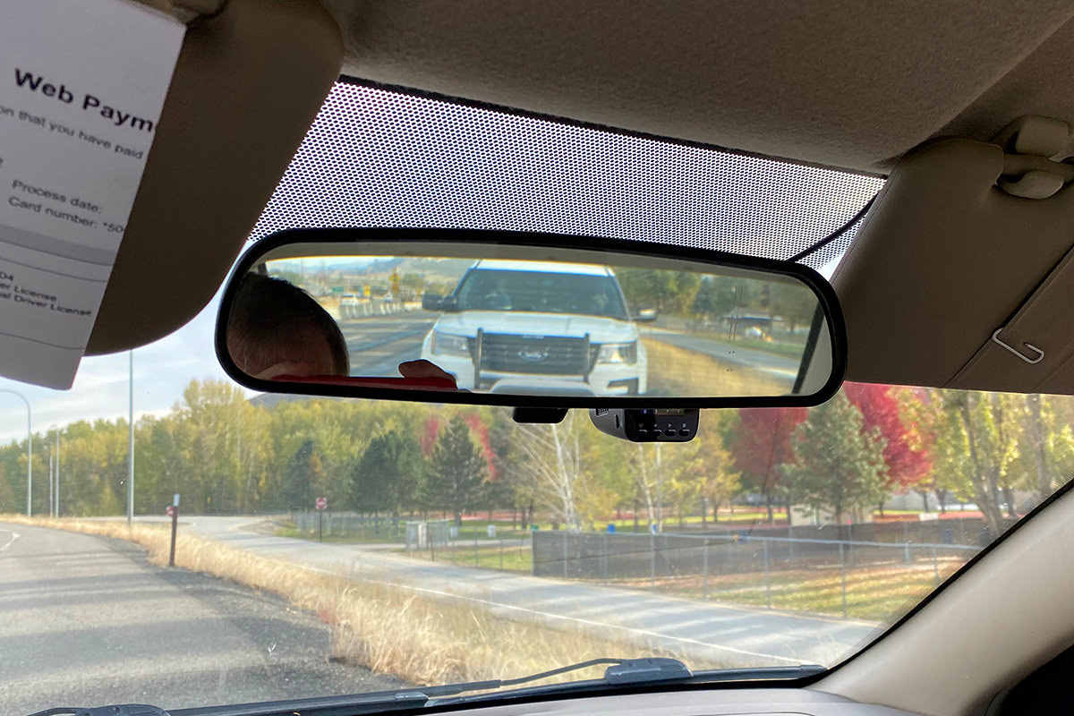 A state patrol in my rear-view mirror.