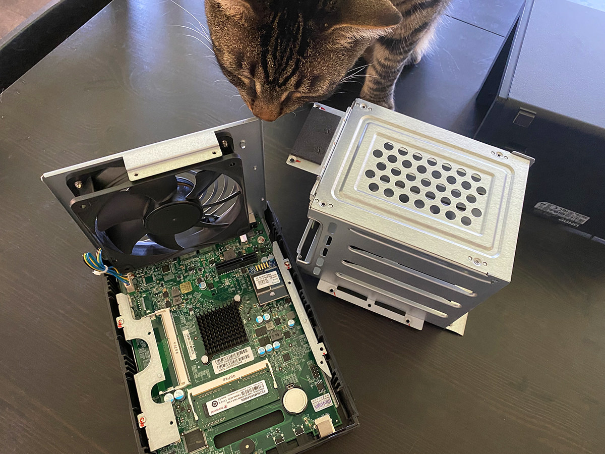 My cat Jake sniffing around at a QNAP TS-451+ NAS that's been opened up.