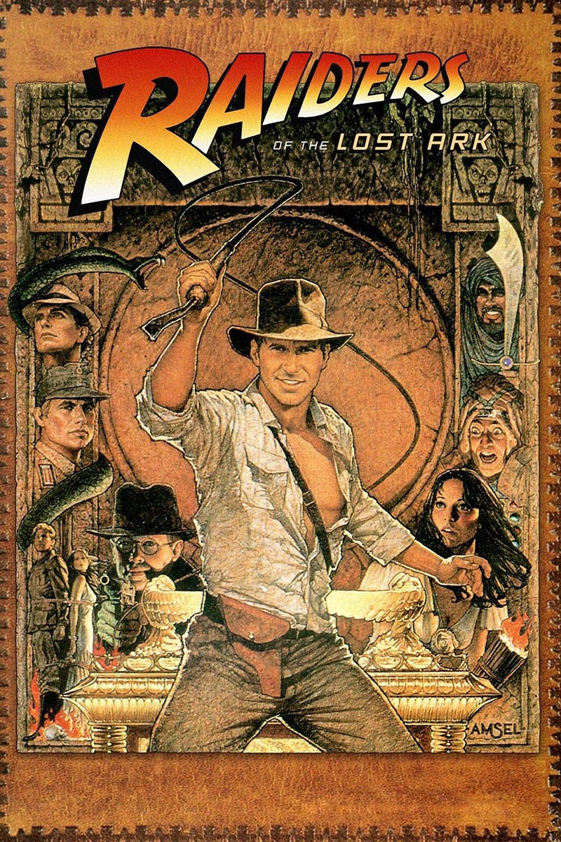 The original Raiders of the Lost Ark movie poster with Harrison Ford.