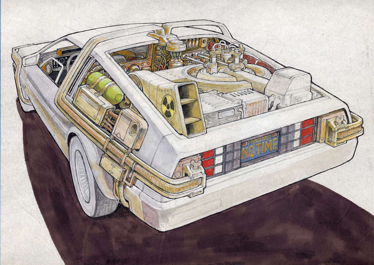 Ron Cobb Art: The DeLorean from Back to the Future.