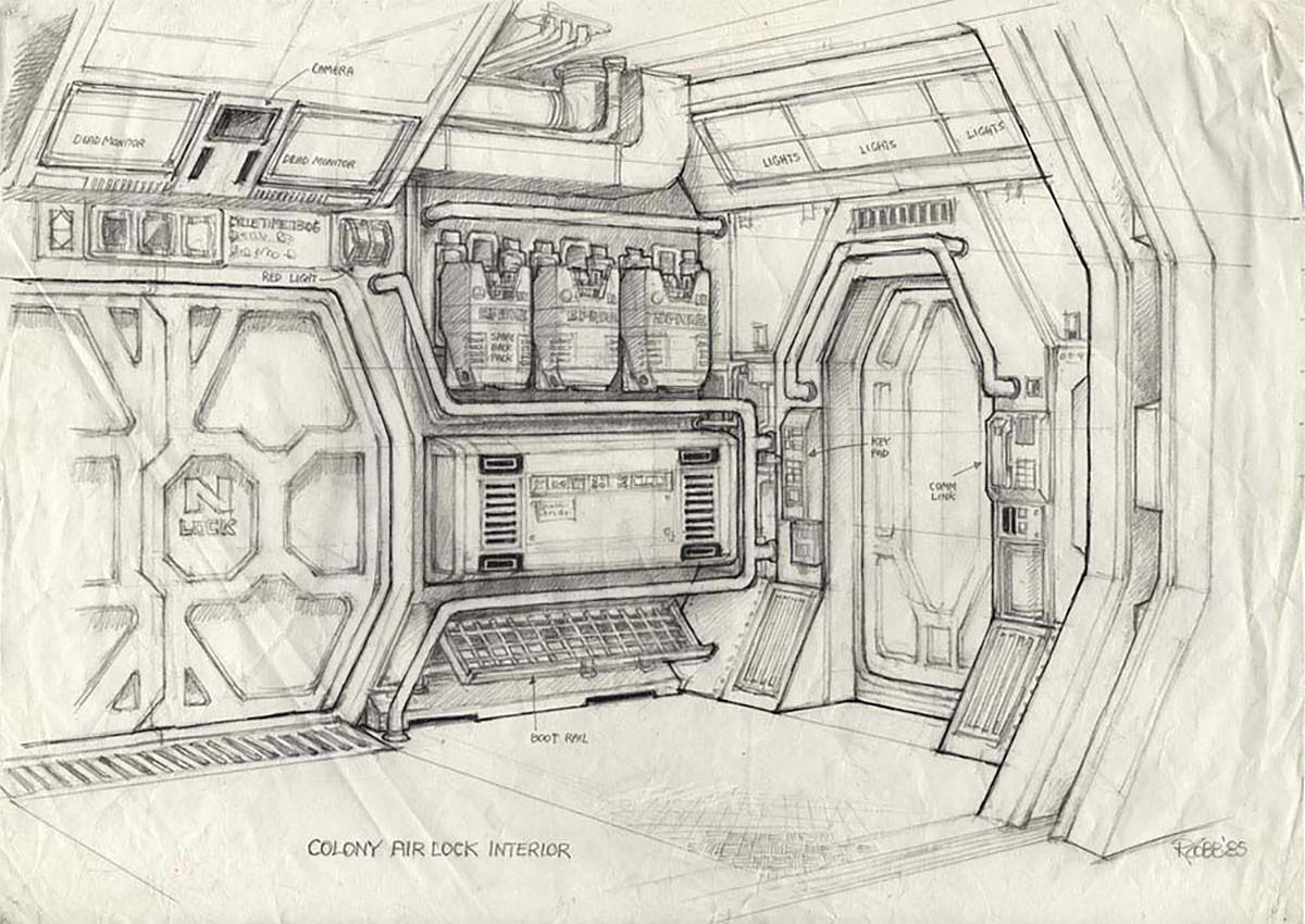 Ron Cobb Art: An airlock interior from Aliens.