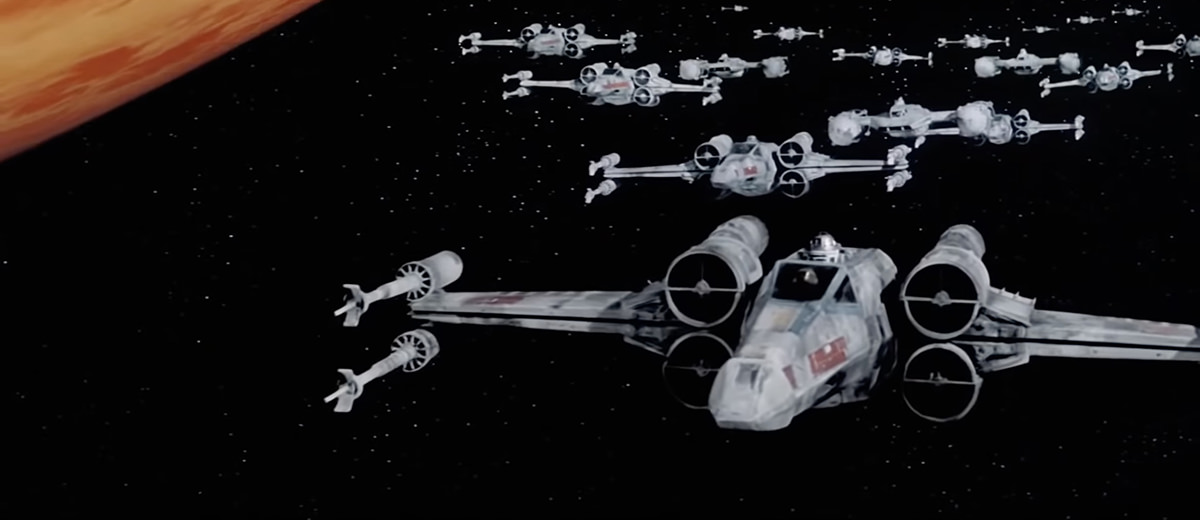 A scene of X-Wing fighters from Star Wars... off LaserDisc.
