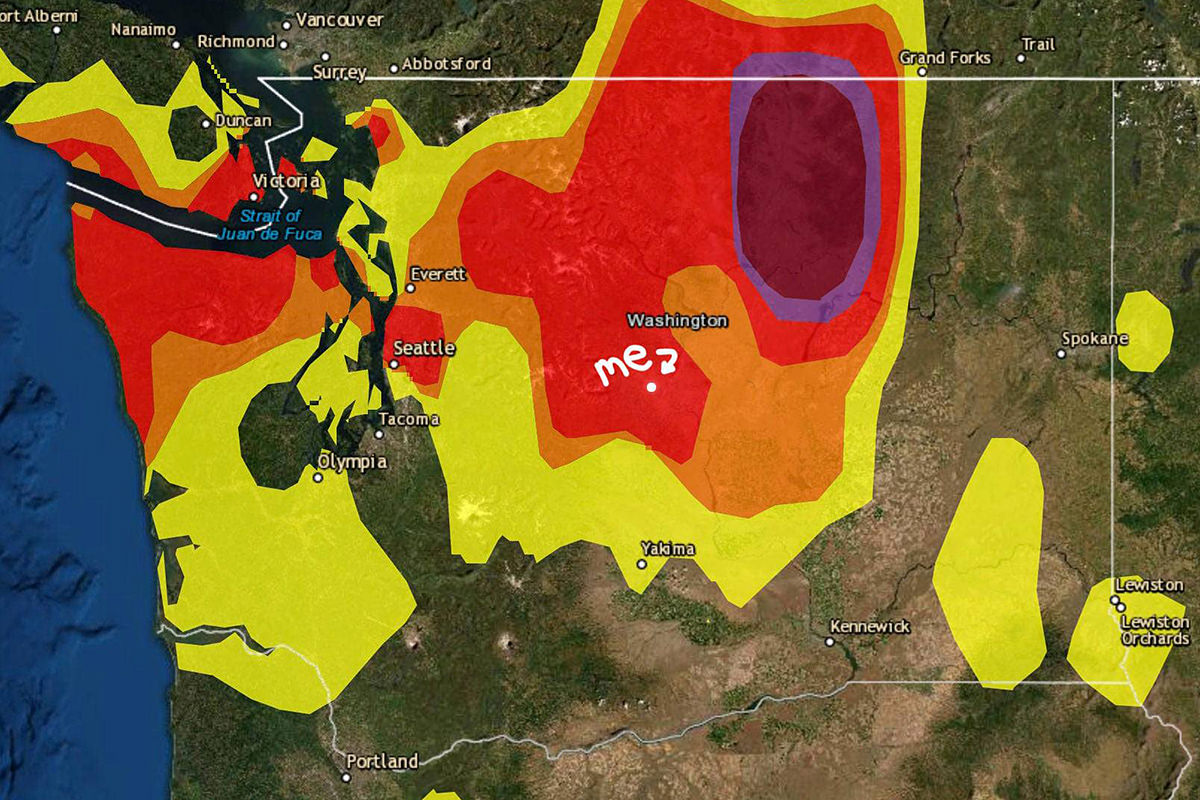 A map of Washington State with some very poor Air Quality Index numbers.