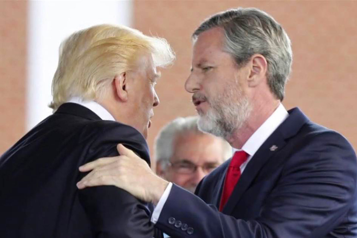 Jerry Falwell Jr. laying a hand lovingly on Impeached President Trump's shoulder while blabbering some racist, homophobic rhetoric in his ear, I'm sure.