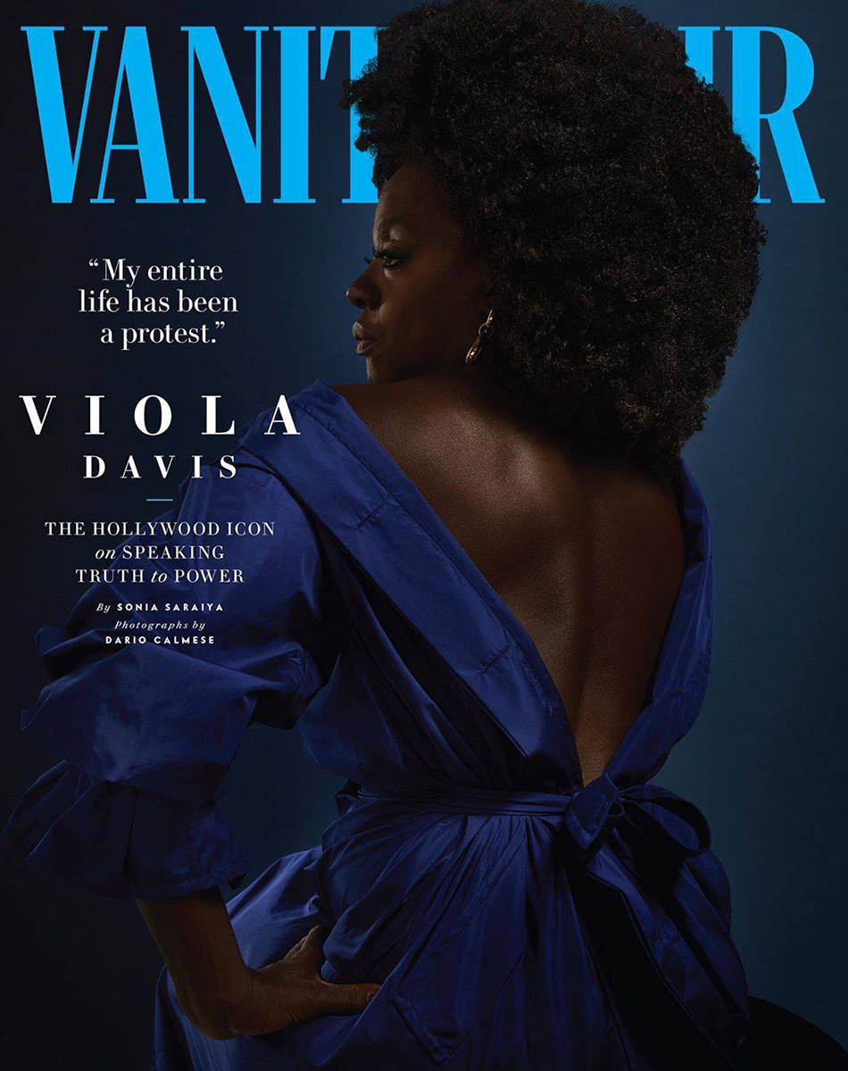 Viola Davis looking amazing shot from the back looking off to the left.