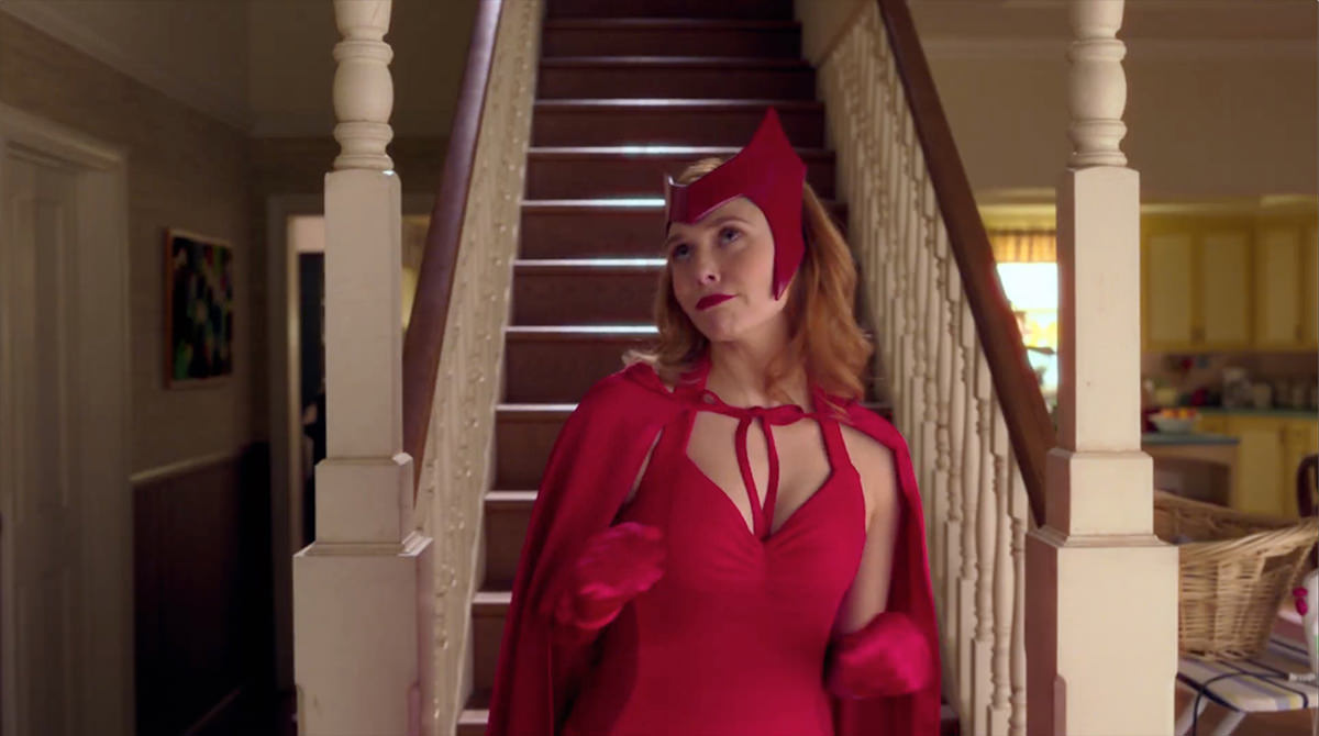Wanda, The Scarlet Witch, in her comic book costume.