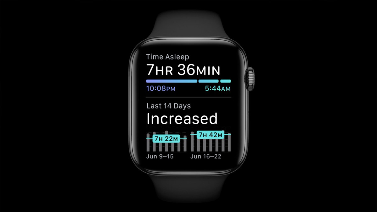 An Apple Watch displaying sleep information on its face.