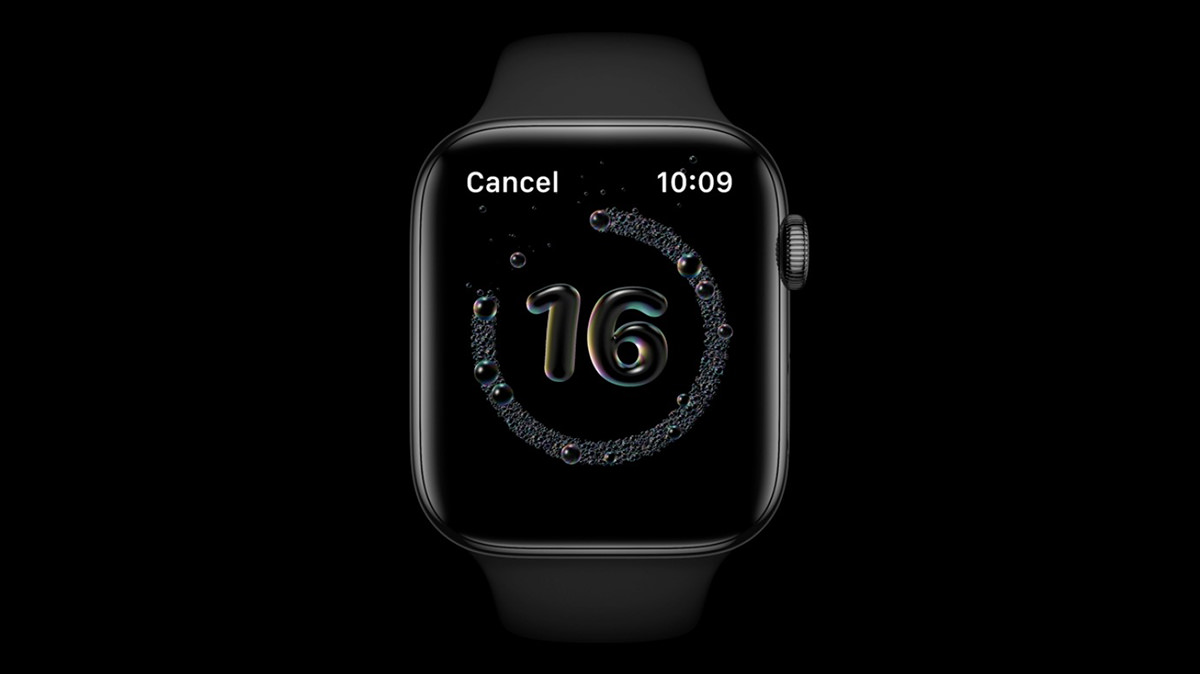An Apple Watch display showing a handwashing countdown.