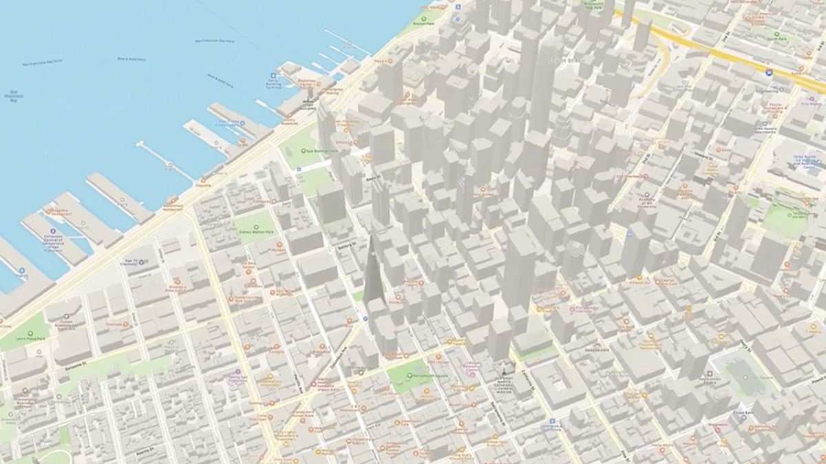 A map of downtown San Francisco on Apple Maps on iPhone.