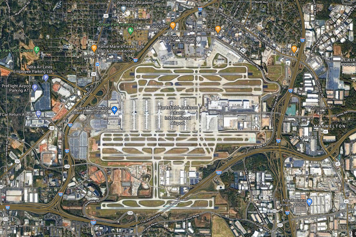 The Hartsford-Jackson Airport in Atlanta as seen from satellite view in Google Maps.