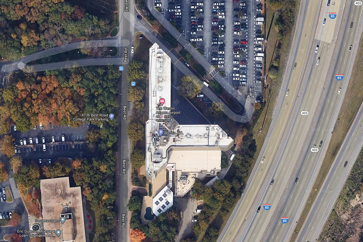 The Westing Atlanta Airport as seen from satellite view in Google Maps.