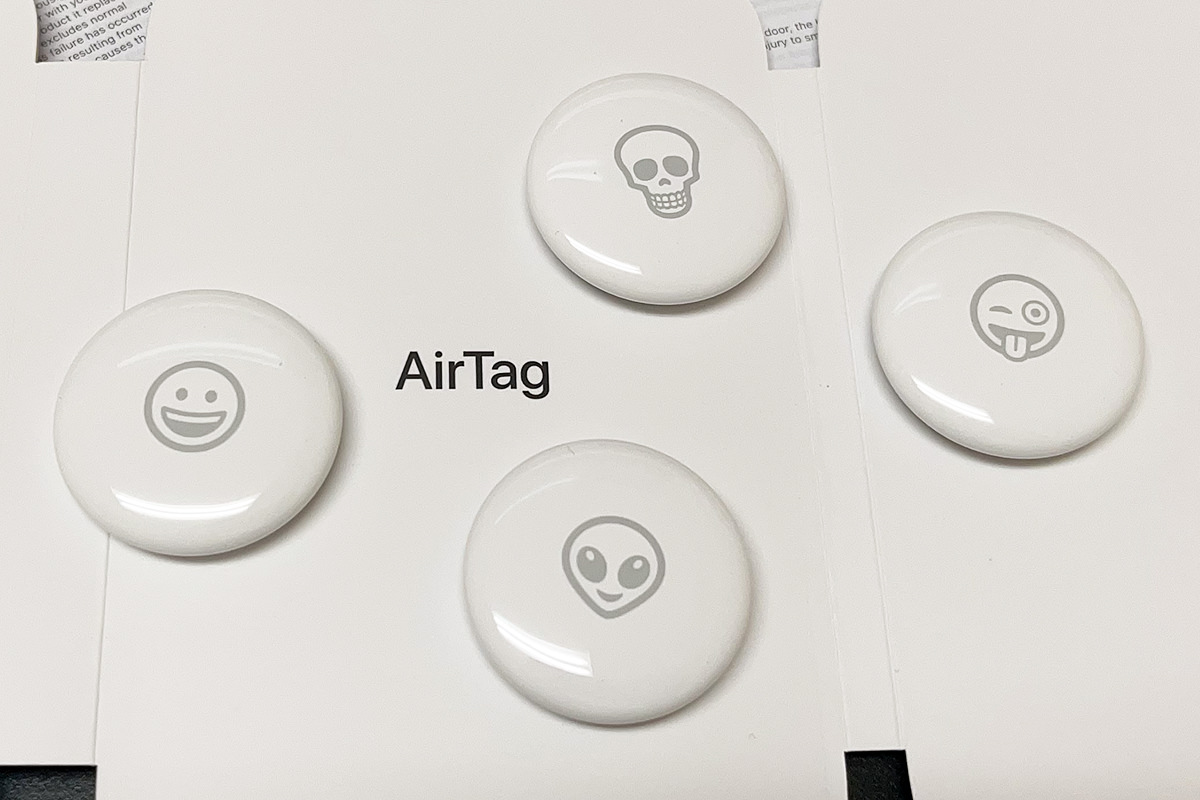 The emojis etched on my AirTags include Smiley Face, Skull, Winky Face, and Alien.