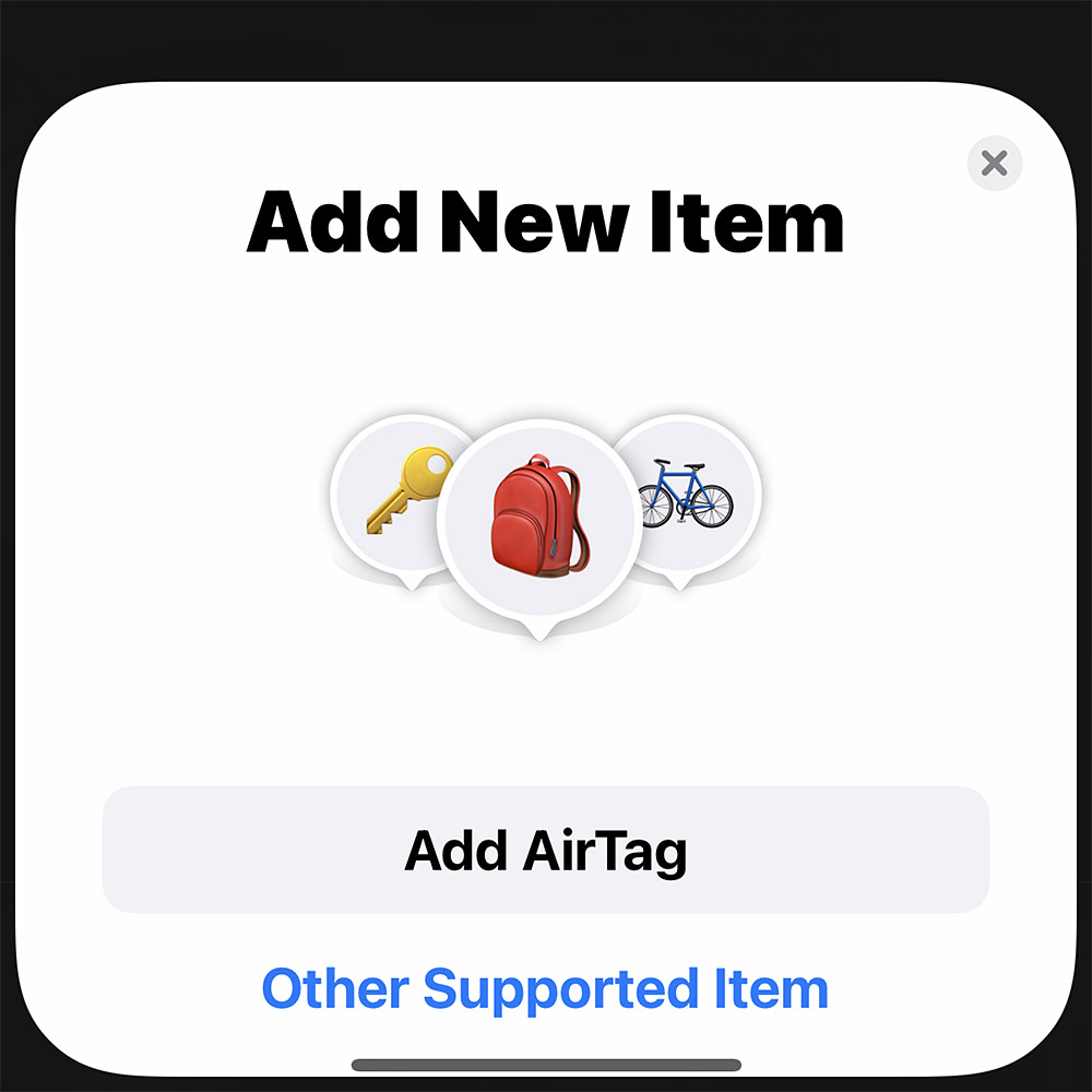 The AirTags add new item screen on my iPhone.