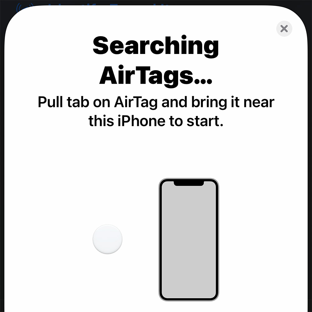 My iPhone searching for AirTags.