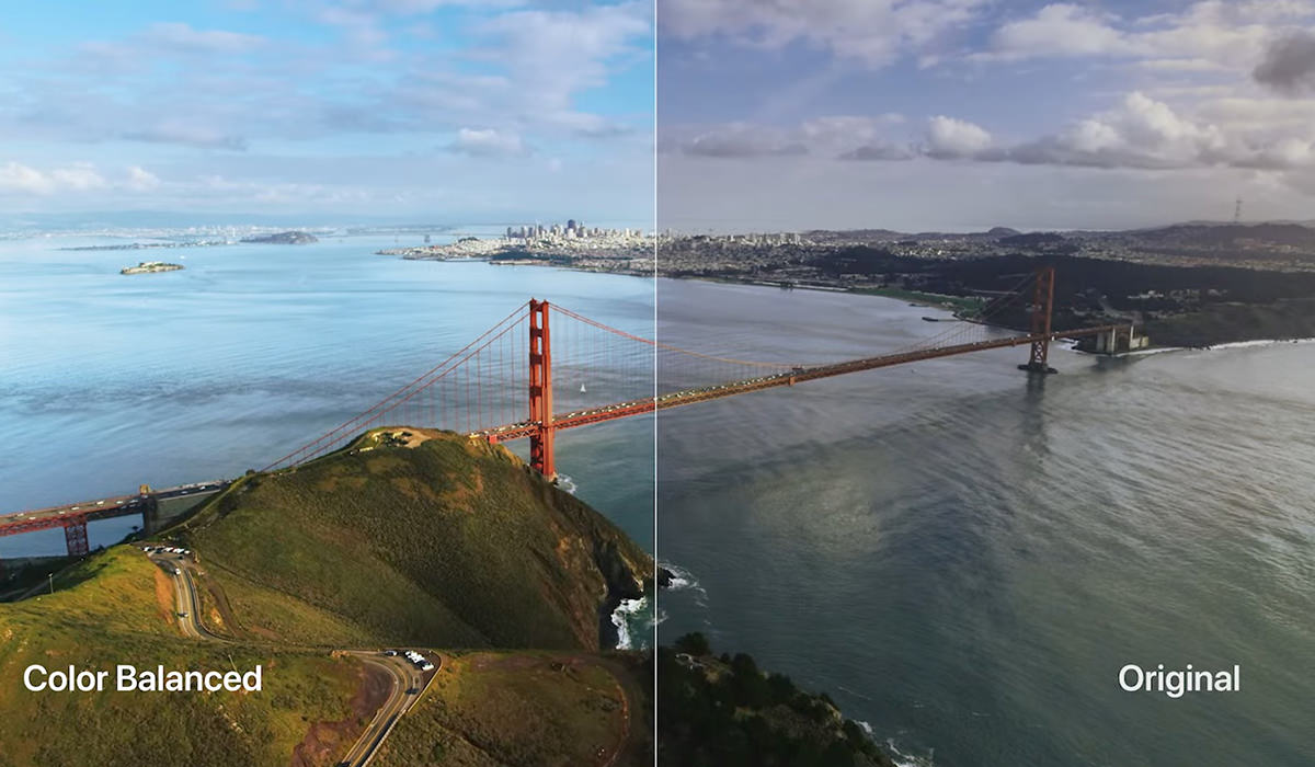 Apple TV Color Calibration showing a before/after split-screen.