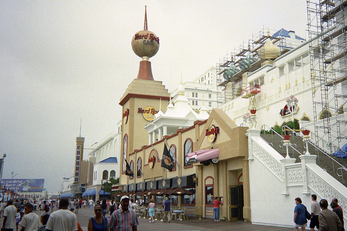 The Hard Rock Cafe Atlantic City at Trump Taj Mahal as seen looking South on the Boardwalk.
