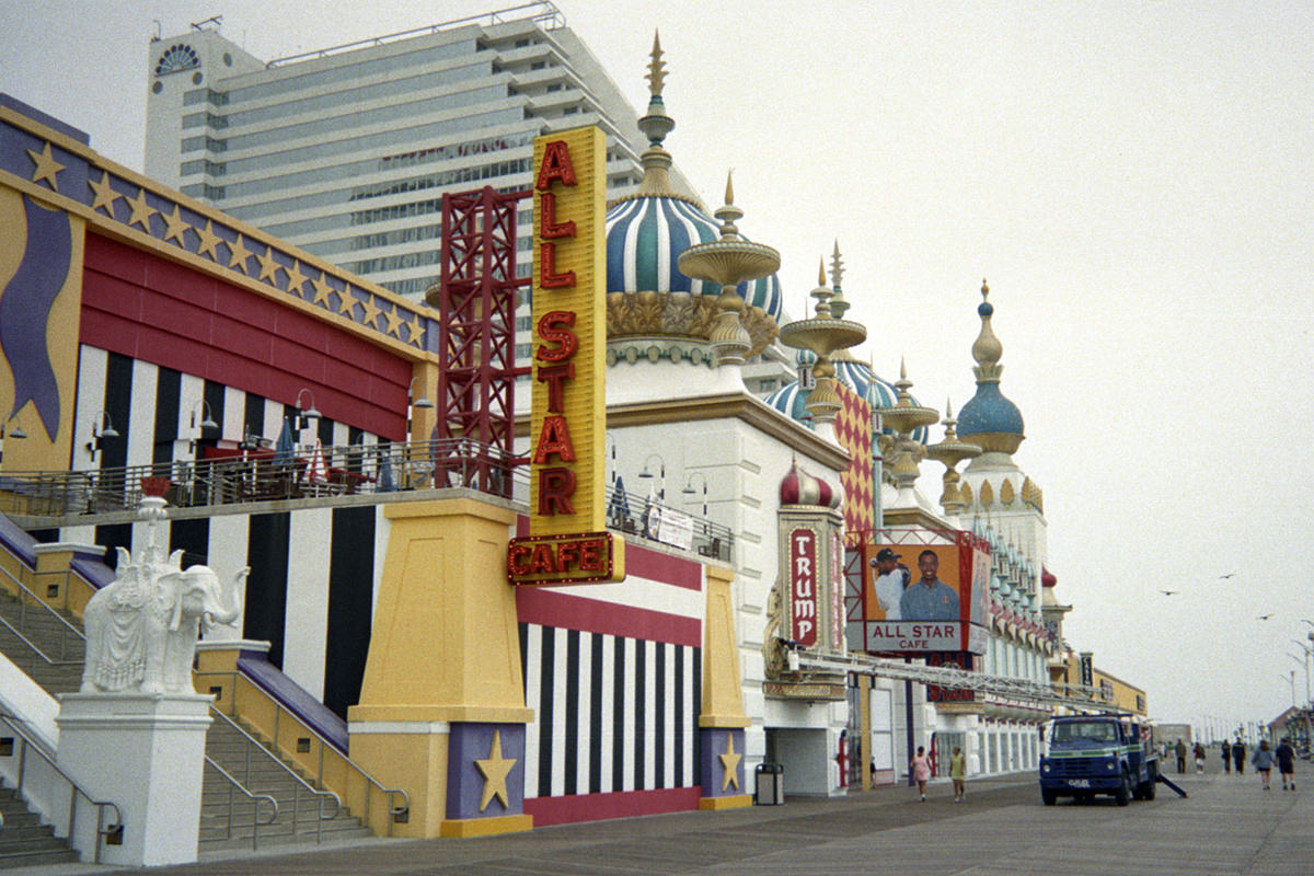 The All-Star Cafe Atlantic City at Trump Taj Mahal as seen looking North on the Boardwalk.