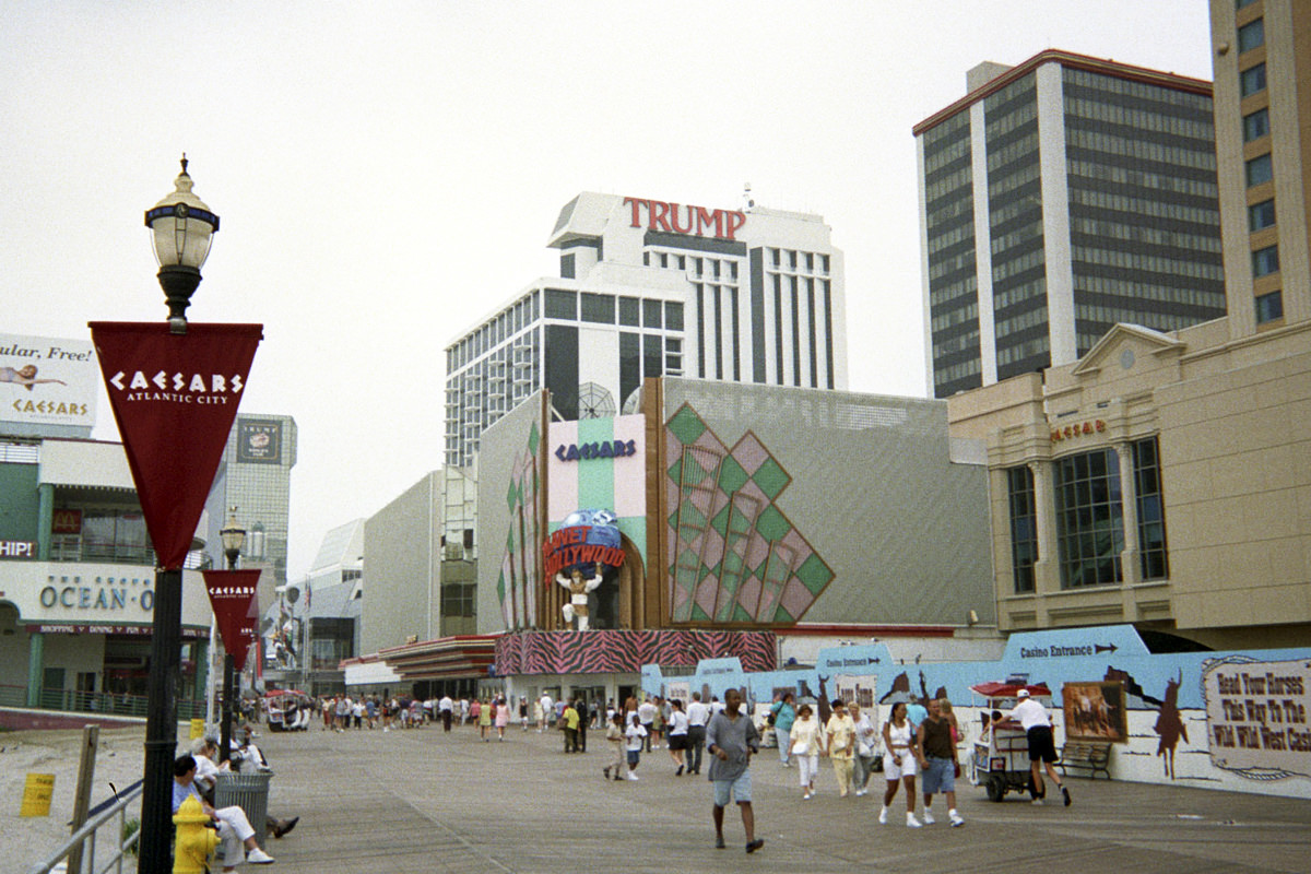 Planet Hollywood Atlantic City with Trump Plaza behind it.