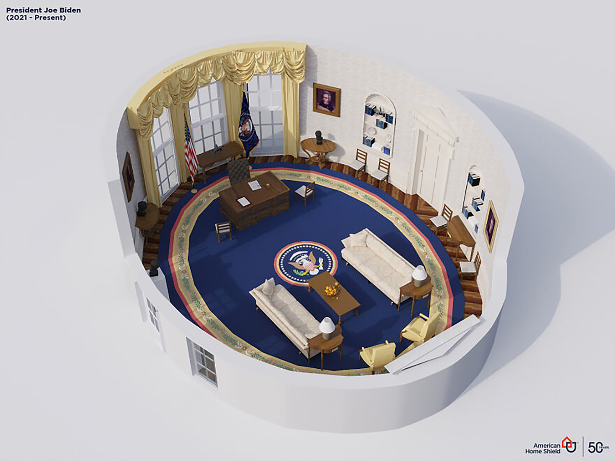 A 3-D cutaway view of The Oval Office as it has been currently decorated by President Biden.