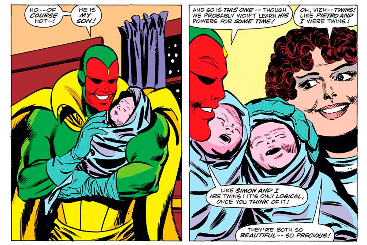 Vision and Scarlet Witch with their twin babies in the comic book.